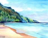 Original Watercolor Kee Beach 2 Painting from Kauai Hawaii by Marionette blue teal turquoise sand
