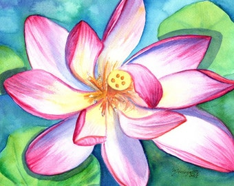 Lotus flower original art, Original Watercolor Paintings, Tropical Flower Art, Lotus Flower Paintings,  Zen wall art,  Tropical home decor