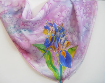 Japanese Iris Original Silk Scarf Handpainted in Kauai Hawaii Silk Scarves Birthday Gift Wearable Art