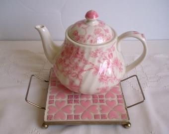 Vintage Pink Ceramic Tiles Hot Plate Mosaic Tiles Mid Century Trivet