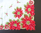 Vintage Christmas Handkerchief White with Red Poinsettias