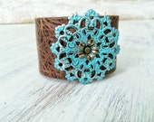 Boho Leather Cuff Bracelet with Metal Flower Focal