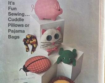 Vintage 60s Stuffed Cat Pig Frog Ladybug Lion Turtle Pillow Toy Pajama Bag Sewing Pattern 7367