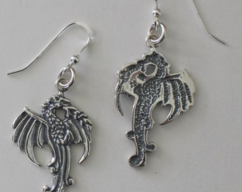 Sterling Silver STANDING DRAGON Earrings -- Totem, Fantasy, Renaissance
