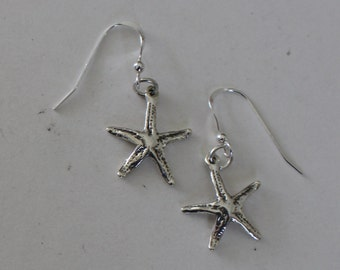 Sterling Silver 3D STARFISH Earrings - Beach, Shore, Marinelife, Tropical