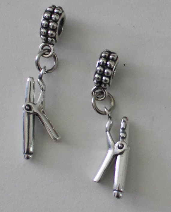 Name Brand Bracelets: Sterling 3D CURLING IRON Bead Charm For All Name Brand Add