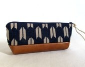 Pencil Pouch in Japanese Import Cotton and Faux Leather