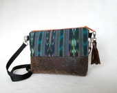 Zippered Hip Bag // Ikat and Faux Leather Purse //  Green Cross Body Day Bag