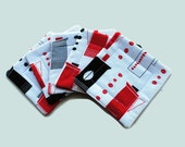 Handmade Quilted  Coasters set of 5 Retro Coffee Pots Red Black White