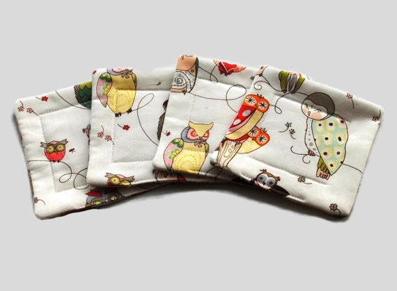 Handmade Quilted  Coasters set of 4 Owls Alexander Henry