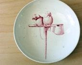 Parakeets. 1880s  Canova English Majolica bird plate.