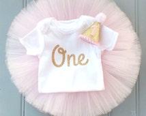 First Birthday Outfit, First Birthday Tutu Set, SEWN Baby Toddler Tutu, Cake Smash Tutu, Super FULL Princess Tutu, Photo Prop Tutu