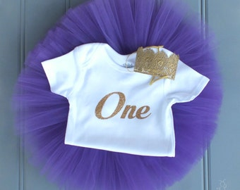 Cake Smash Outfit Girl, First Birthday Outfit Girl, 1st Birthday Outfit, SEWN Tutu Set, Tulle Skirt, Gold Crown, 1st Birthday Tutu Skirt Set