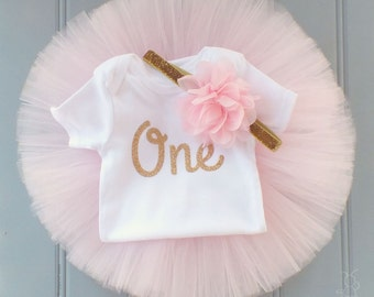 Pink and Gold First Birthday Outfit Girl, Baby Tutu Dress, Tulle Skirt, Baby Headband, Baby Romper, Baby Girl 1st Birthday Outfit Girl, SEWN