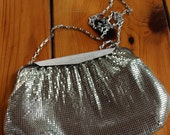 VINTAGE PURSE - Whiting and Davis Silver Mesh Purse, clutch, fancy bag, gala, dressy