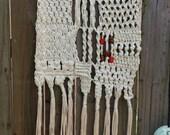 VINTAGE Macrame Wall Hanging, fringe, beads, cream, orange, brown