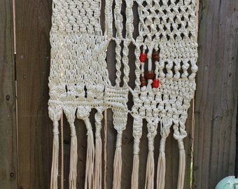 VINTAGE Macrame Wall Hanging, fringe, beads, cream, orange, brown