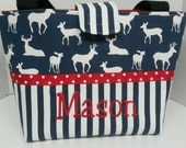 Personalized Diaper Bag in Navy and White