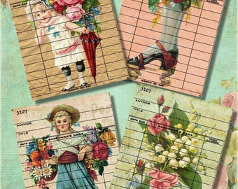 Set of 4 Vintage Shabby Victorian Floral Girl Library Cards Digital Collage Sheet for Journaling, Crafts of Scrapbooking