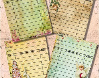 Set of 4 Pink Shabby Christmas Library Cards Digital Collage Sheet for Journaling, Tags, Crafts of Scrapbooking