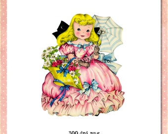 Vintage Girl with Parasol Digital Clipart in .png format, Instant Download CU ATC, transfers, collage