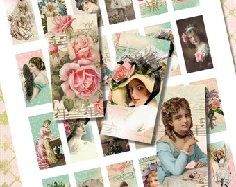 Layered Vintage Girl, Lady, Floral Domino Tile Digital Collage Printable Sheet for Necklaces, Altered Art, Jewelry
