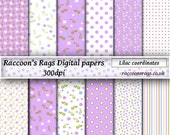 "Raccoons digital paper: 12 x 300dpi images.   ""Lilac coordinates"", for cards, scrapbook, art journal, dolls house, crafts, decoupage"