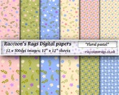 "Raccoons digital paper: 12 x 300dpi images.   ""Floral pastel"", for cards, scrapbook, art journal, dolls house, crafts, decoupage"