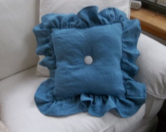 Ruffled Linen Pillow READY to SHIP Blue Linen Pillow Bedroom Pillow Decorative Pillow French Country Farmhouse Prairie Cottage Chic