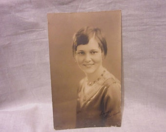 Vintage Black and White Photograph of Young Lady