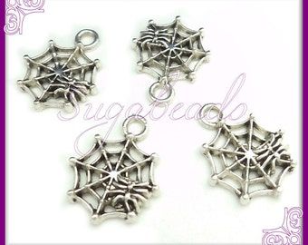 15 Small Antique Silver Spider Web Charms 17mm PS159