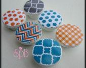 Patterned Knobs • Chevron • Quatrefoil • Stripe • Polks Dot • Orange • Turquoise • Grey • Drawer Knobs • Dresser Knobs