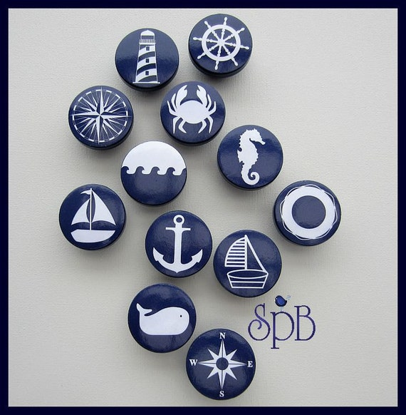 Nautical Knobs Navy Anchor Sailboat Helm Lighthouse