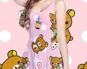 Lazy Bear Has Some Snacks All Over Print Dress