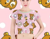Lazy Bear Says Snacktime! All Over Print Crop Top Shirt