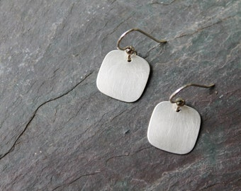 Brushed Sterling Silver Square Earrings - Modern - Classic - New for Fall - Trendy - Geometric Earring - Handmade -