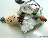 Chenguang Necklace, Asian Carved Bone Pendant, Natural Turquoise, Carnelian, Aventurine, Oxidized Copper, Extra Long Ethnic Organic Earthy