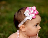 Boutique Pink, Grey, and White Chevron infant or toddler headband or clip