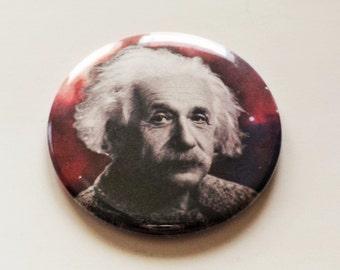 Albert Einstein Outer Space Pinback Button OR Magnet -- 2.25 inch