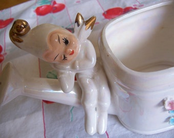 little white elf lefton watering can
