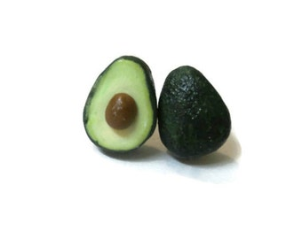 Avocado Stud Earrings, Miniature Food Jewelry, Hand Sculpted Polymer Clay