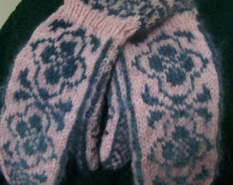 Handknit Mohair and Wool Blend Norwegian Rose Design Cuff Mittens Soft DustyPink and  Wedgewood Blue