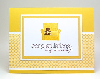 yellow baby card - gender neutral baby card - teddy bear baby card
