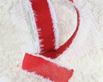 "1.5"" Red Linen Ribbon w/ Fuzzy White Fringe -- 2 yard bundle"