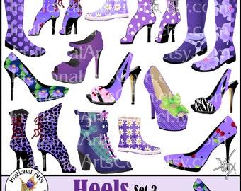 Heels Set 3 Purples Victorian Corset Angelica boots and Jane pumps, heels and boots - 15 digital clip art graphics {INSTANT DOWNLOAD}