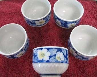 Set of 5 Floral Japanese Tea Cups