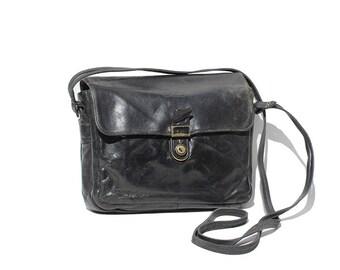 BREE Black Leather Cross Body Bag
