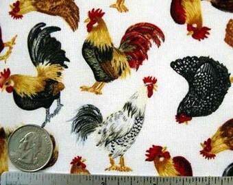 ROOSTERS HENS White Quilt Fabric by the Yard, Half Yard, or Fat Quarter Chicken