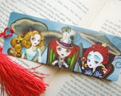 Tea Party Bookmark with Tassel - Alice in Wonderland Bookmark - Swap, Postcrossing, Snail Mail, Pen Pal gift