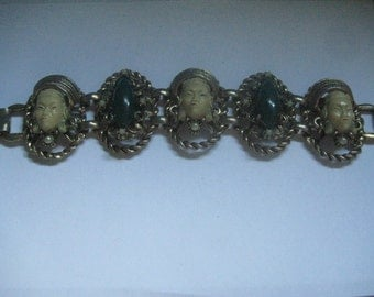 Vintage Selro Selini Asian Princess Panel Bracelet with Jade Cabochons and Faux Pearls